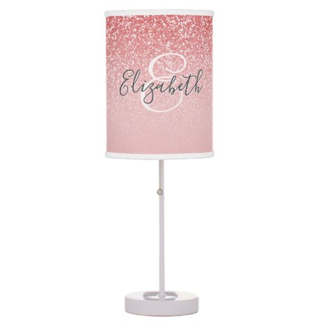 Rose Gold Glitter Blush Ombre Personalized Table Lamp