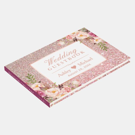Rose Gold Glitter Blush Pink Floral Wedding Guest Book