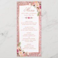 Rose Gold Glitter Blush Pink Floral Wedding Menu