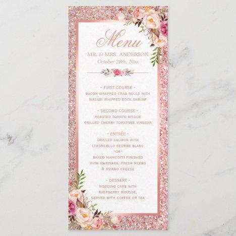 Rose Gold Glitter Blush Pink Floral Wedding Menu