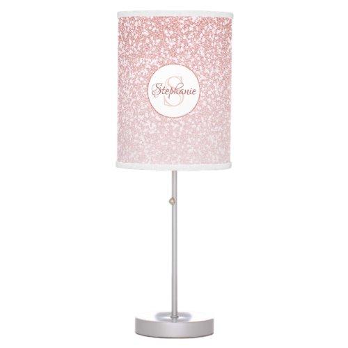 Rose Gold Glitter Blush Pink Monogram Table Lamp