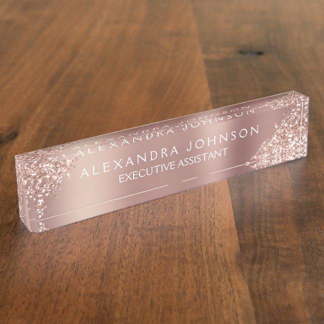 Rose Gold Glitter | Blush Pink Sparkle Glitter Desk Name Plate