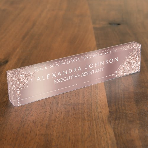 Rose Gold Glitter  Blush Pink Sparkle Glitter Desk Name Plate
