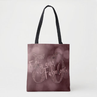Rose Gold Glitter & Bokeh 50 & Fabulous Typography Tote Bag