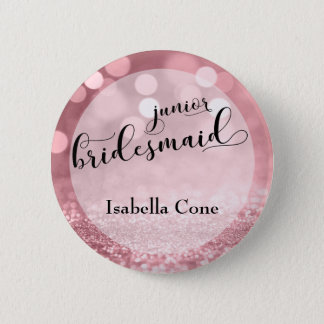 Rose Gold Glitter Bokeh & Junior Bridesmaid Button