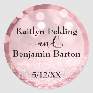 Rose Gold Glitter Bokeh Names & Wedding Date Classic Round Sticker