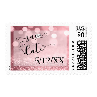 Rose Gold Glitter Bokeh Save the Date 2 Postage