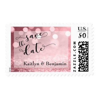 Rose Gold Glitter Bokeh Save the Date 3 Postage