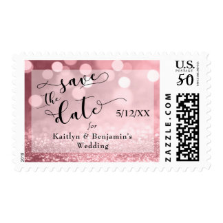 Rose Gold Glitter Bokeh Save the Date Postage