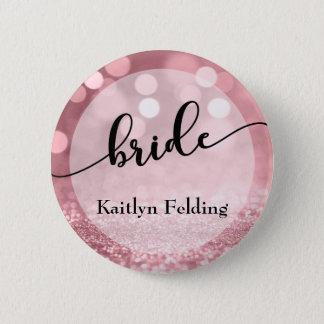 Rose Gold Glitter Bokeh & Typography Bride 1 Button
