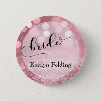 Rose Gold Glitter Bokeh & Typography Bride 2 Pinback Button