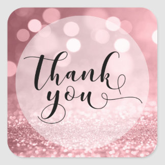 Rose Gold Glitter Bokeh & Typography Thank You 5 Square Sticker