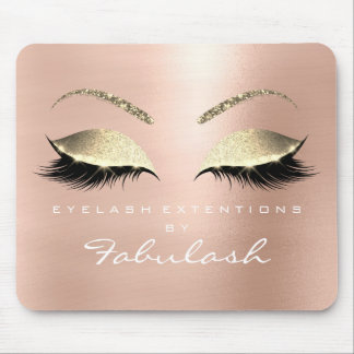Rose Gold Glitter Branding Beauty Lashes White Mouse Pad