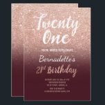 "Rose gold glitter burgundy ombre 21st Birthday Invitation<br><div class=""desc"">Faux rose gold glitter ombre on burgundy 21st Birthday A modern 21st Birthday party invitation with modern, original and simple faux rose gold glitter invitation and hand written style brush typography on a fully customizable burgundy color background . If you need any text changed and customized don't hesitate in contacting...</div>"
