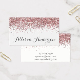 Rose Gold Glitter Business Cards