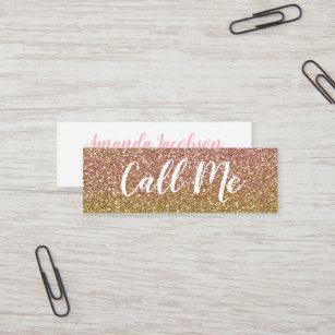 Mini business cards zazzle rose gold glitter call me mini business cards colourmoves