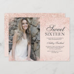 """rose gold glitter chic blush pink photo Sweet 16 Invitation<br><div class=""""desc"""">A modern simple rose gold glitter sparkles stylish on customizable blush pink Sweet sixteen birthday party invitation,  add your picture .</div>"""