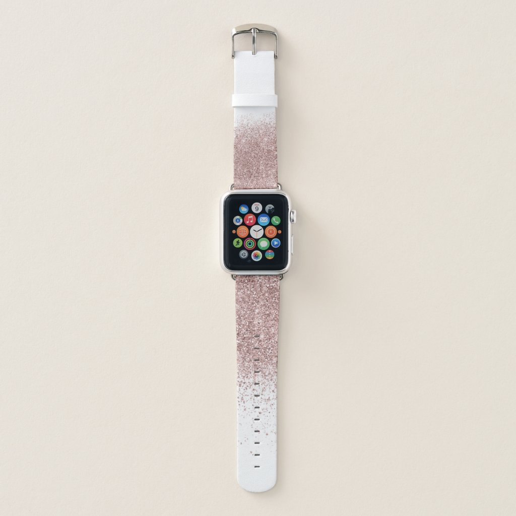Rose Gold Glitter Confetti Dust Apple Watch Band