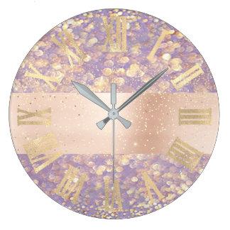 Rose Gold Glitter Confetti Purple Roman Numbers Large Clock