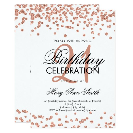 Rose Gold Glitter Confetti White 21st Birthday Invitation