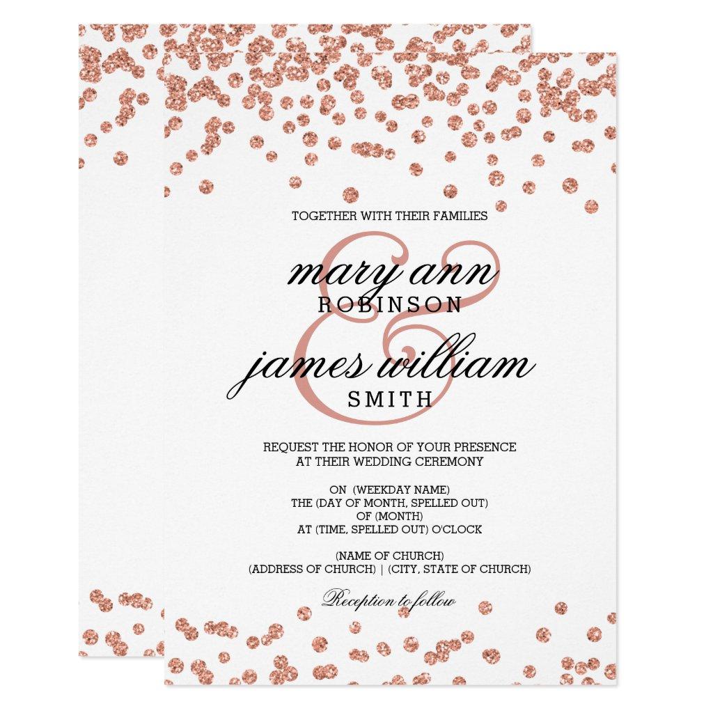 Rose Gold Glitter Confetti White Elegant Wedding Invitation