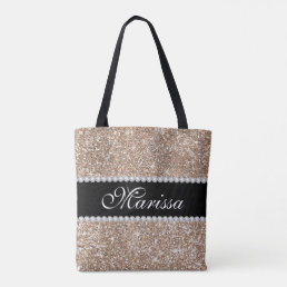Rose Gold Glitter Cool Black Stylish Tote Bag