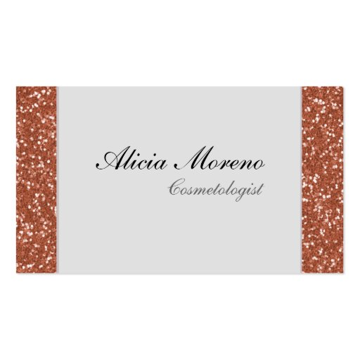 Rose Gold Glitter Cosmetologist Business Cards