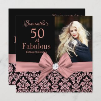 Rose gold glitter damask 50th Birthday Invitation