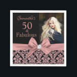 "Rose gold glitter damask 50th Birthday photo Napkin<br><div class=""desc"">Rose gold glitter black damask 