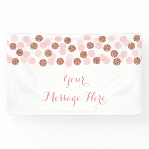 Rose gold Glitter Dot Baby Shower Banner