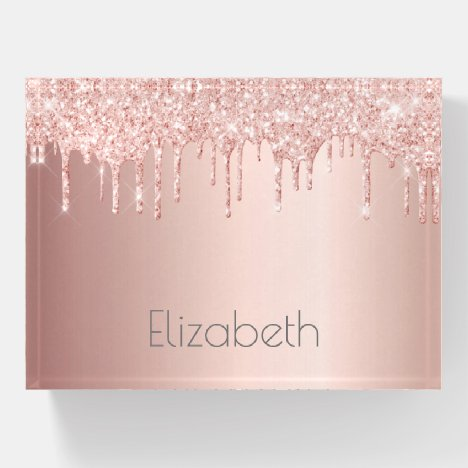 Rose gold glitter drips metallic glam girly name paperweight