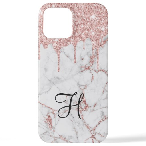 Rose Gold Glitter Drips Monogram Girly Marble iPhone 12 Pro Max Case