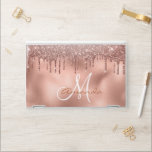 """Rose Gold Glitter Drips Personalized Monogram HP Laptop Skin<br><div class=""""desc"""">This design was created though digital art. It may be personalized in the area provided or customizing by choosing the click to customize further option and changing the name, initials or words. You may also change the text color and style or delete the text for an image only design. Contact...</div>"""