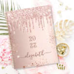 """Rose gold glitter drips pink monogram name 2022 planner<br><div class=""""desc"""">A faux rose gold metallic looking background with elegant faux rose gold glitter drips, paint drip look. Template for a year (upside down) Personalize and add a name. The name is written in dark rose gold with a large modern hand lettered style script. Perfect for school, work or organizing your...</div>"""