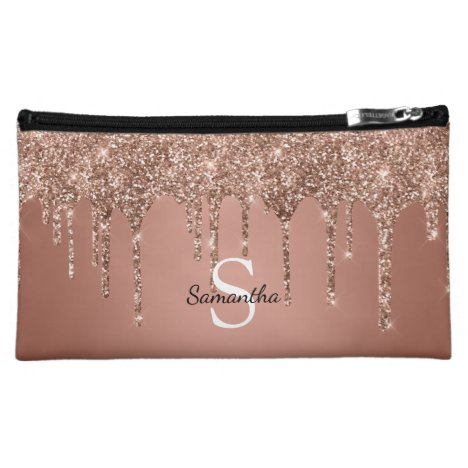 Rose Gold Glitter Drips Sparkle Monogram Name Cosmetic Bag