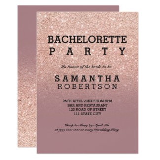 Rose gold glitter dusty rose bachelorette party invitation
