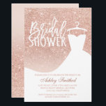 """Rose gold glitter elegant chic dress Bridal shower Card<br><div class=""""desc"""">A modern, pretty chic and elegant faux rose gold glitter shower ombre with pastel blush pink color block bridal shower party invitation with rose gold ombre pattern fading onto a pink background with and elegant wedding white dress .Perfect for a princess bridal shower, perfect for her, the fashionista who loves...</div>"""
