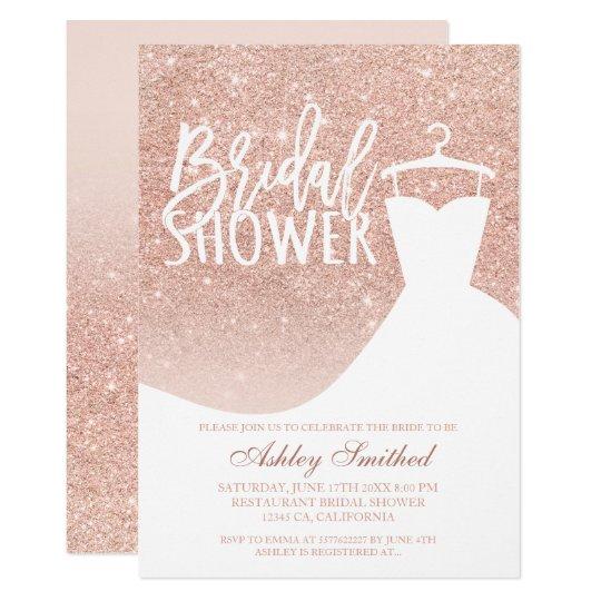 Rose Gold Glitter Elegant Chic Dress Bridal Shower Invitation Zazzle