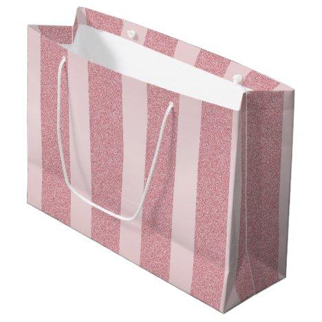Rose Gold Glitter Elegant Modern Template Trendy Large Gift Bag
