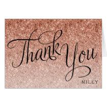 Rose Gold Glitter Fancy Script Thank You