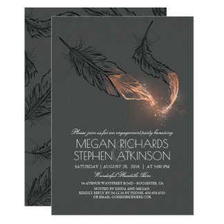 Rose Gold Glitter Feathers Engagement Party Card