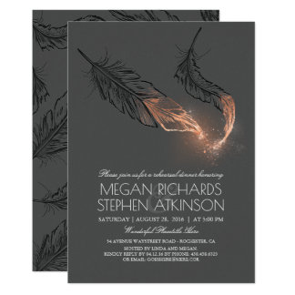 Rose Gold Glitter Feathers Rehearsal Dinner Card