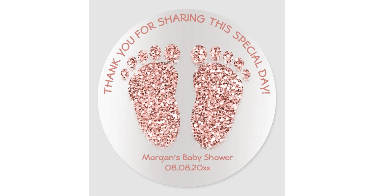 Rose Gold Glitter Feet Baby Shower Favor Thank You Classic
