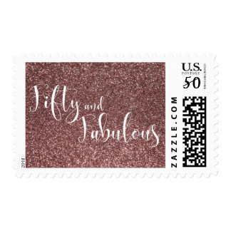 Rose Gold Glitter Fifty & Fabulous Typography Postage