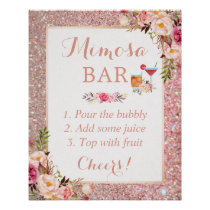 Rose Gold Glitter Floral Mimosa Bar Wedding Sign