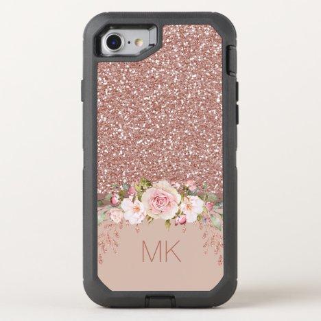 Rose Gold Glitter Floral Monogram OtterBox Defender iPhone SE/8/7 Case