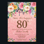 "Rose Gold Glitter Floral Surprise 80th Birthday Invitation<br><div class=""desc"">Rose Gold Pink Glitter Floral Surprise 80th Birthday Invitation for Women. Watercolor Floral Flower. Rose Gold Pink Glitter Background. Pink, Yellow, Orange, Purple Flower. Adult Birthday. 13th 15th 16th 18th 20th 21st 30th 40th 50th 60th 70th 80th 90th 100th, Any Ages. For further customization, please click the ""Customize it"" button...</div>"