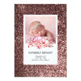 Rose Gold Glitter Floral Sweet Baby Girl Birth Card