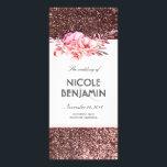 "Rose Gold Glitter Floral Wedding Programs<br><div class=""desc"">Blush flowers bouquet and rose gold glitter wedding programs</div>"