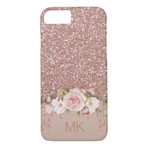 Rose Gold Glitter Floral with Monogram Phone Case
